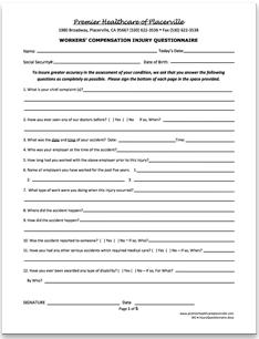 Workers Compensation Patient Forms